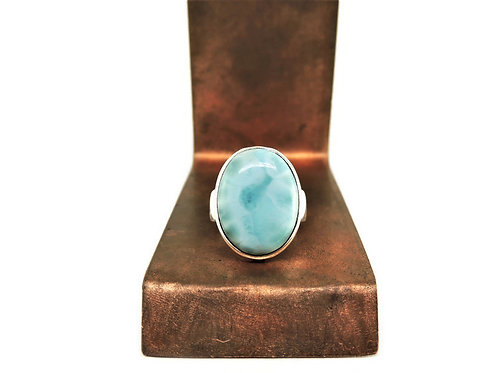Sterling Silver & Oval Larimar Ring