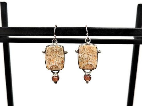 Petrified Wood and Sunstone Earrings by Linda Blumel