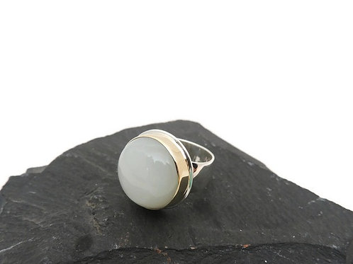 White Moonstone Ring by Linda Blumel