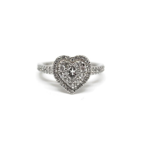 Diamond Heart with Halo Engagement Ring