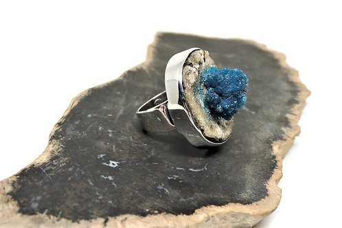 Cavansite Druzy Ring