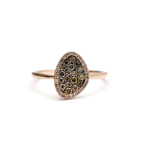 Pave Ring with Chocolate Diamonds and Halo in Rose Gold