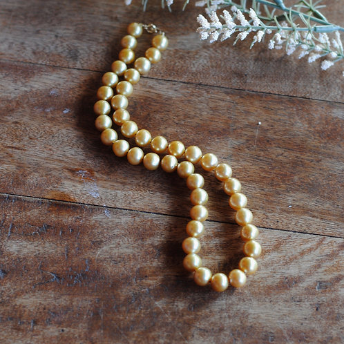 Gold South Sea Button Pearl Necklace