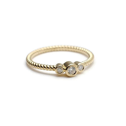 Three Stone Diamond Ring with Twisted Band in 14k Yellow Gold