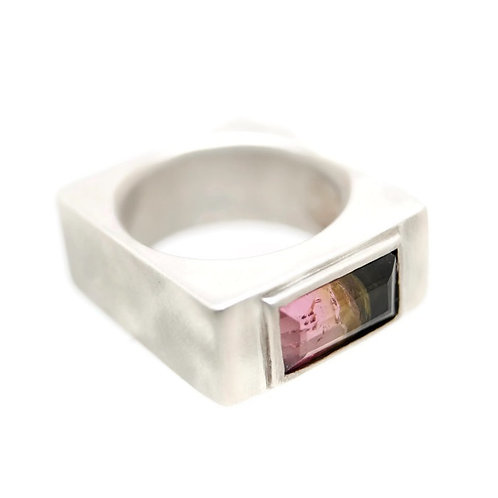 Emerald Cut Watermelon Tourmaline Ring