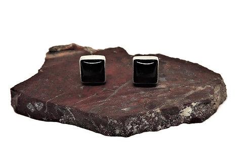 Square Black Onyx Earrings by Linda Blume
