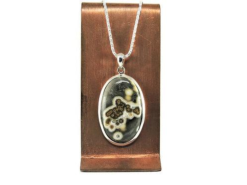 Sterling Silver & Oval Ocean Jasper Pendant