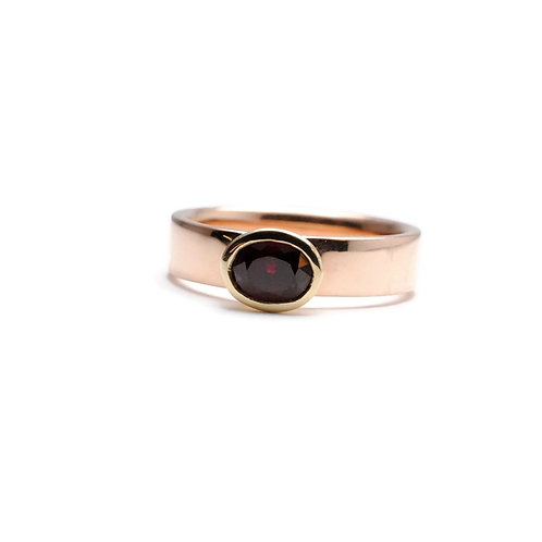 Bezel Set Oval Ruby in Rose and Yellow Gold