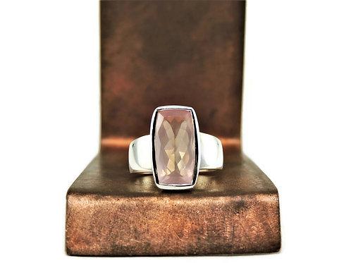 Rectangular Rose Quartz Ring