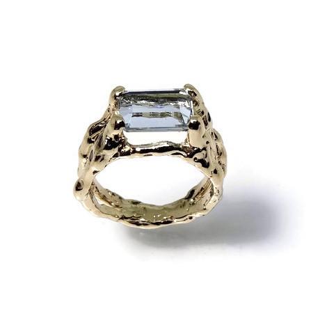 Aquamarine engagement ring in textured twig setting
