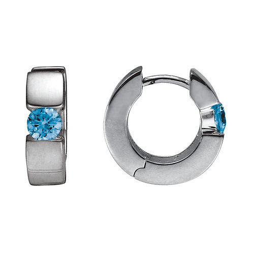 Blue Topaz Hinged Hoop Earrings