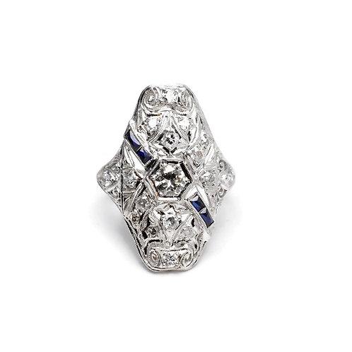 Vintage Art Deco Diamond Ring in Platinum