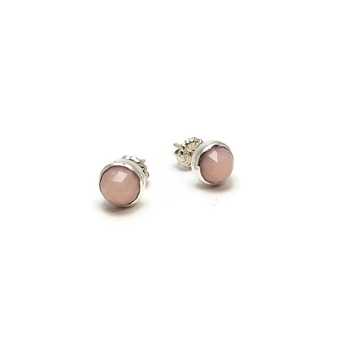 Rose Cut Pink Opal Earrings by Linda Blumel