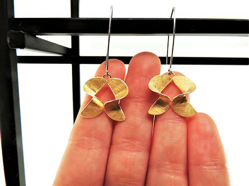 Gold Plated Twisted Threader Earrings by Mysterium