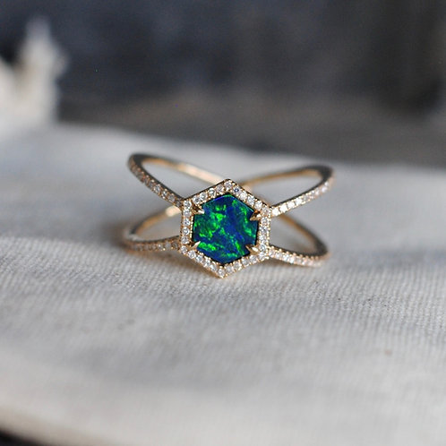 Created Blue Opal Hexagon Ring