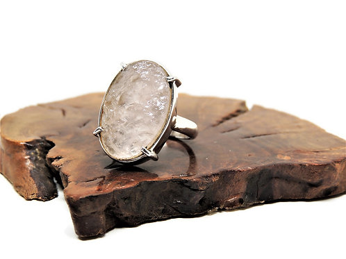 Large Oval Natural Surface Rose Quartz Ring