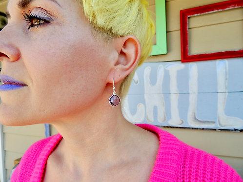 Faceted Cushion Amethyst Earrings by Stephen Estelle