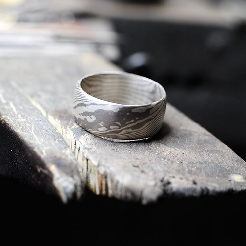 Grey Gold and Sterling Mokume Ring by Jim Brummel