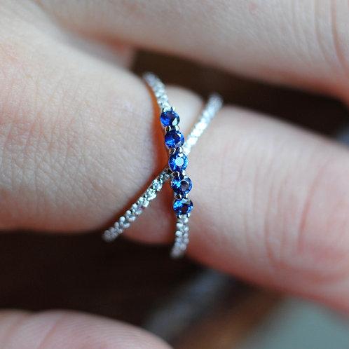 Blue Sapphire and Diamond 'X' Ring