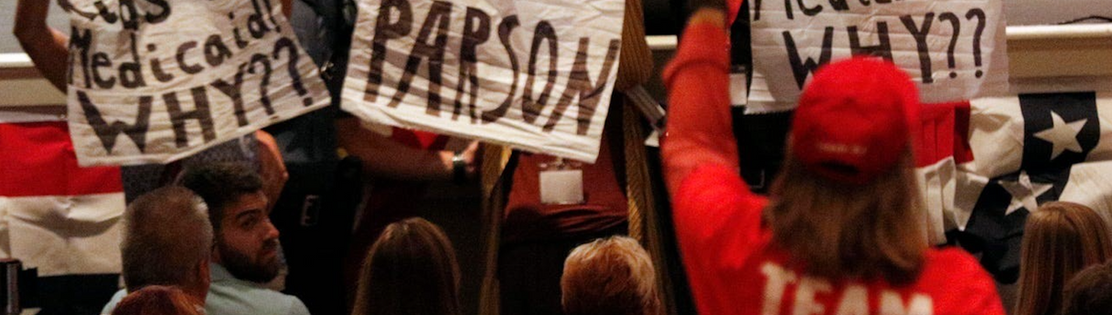 Protest in September of 2019 where protestors disputed Governor Parson's campaign rally. He kicked over 100k kids off of their healthcare.