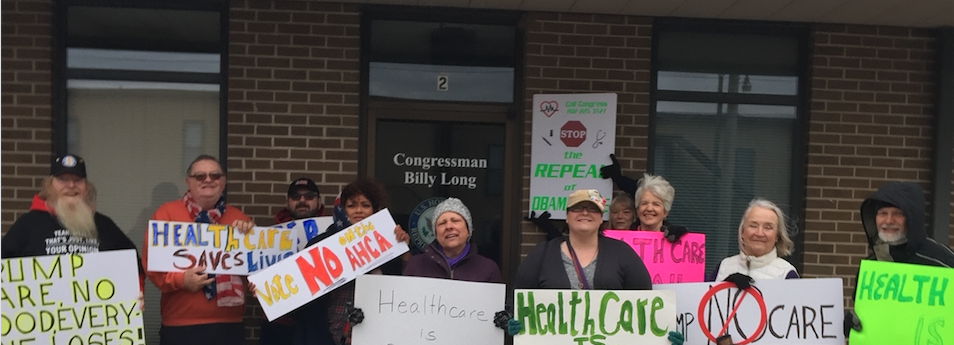 Protest at Billy Long's (US Representative) office when there were federal efforts to repeal the ACA.
