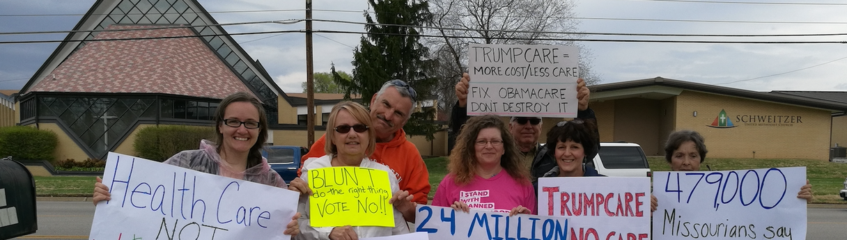 Protest in Springfield at Roy Blunt's (U.S. Senator) office when there were federal efforts to repeal the ACA.