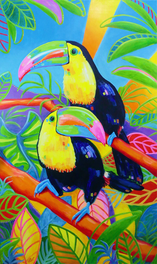 _Make Ne Smile_ Toucans Acry;ic on canva