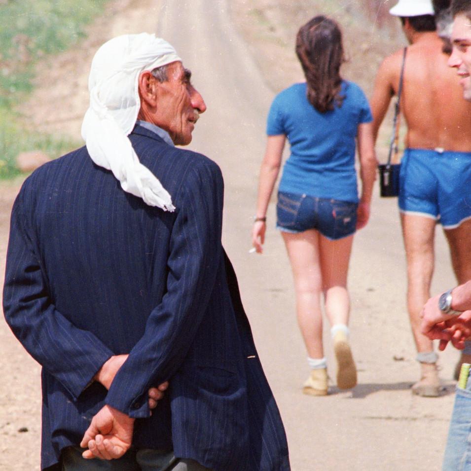 Kibbutznik speaking with Druze close Lebanon