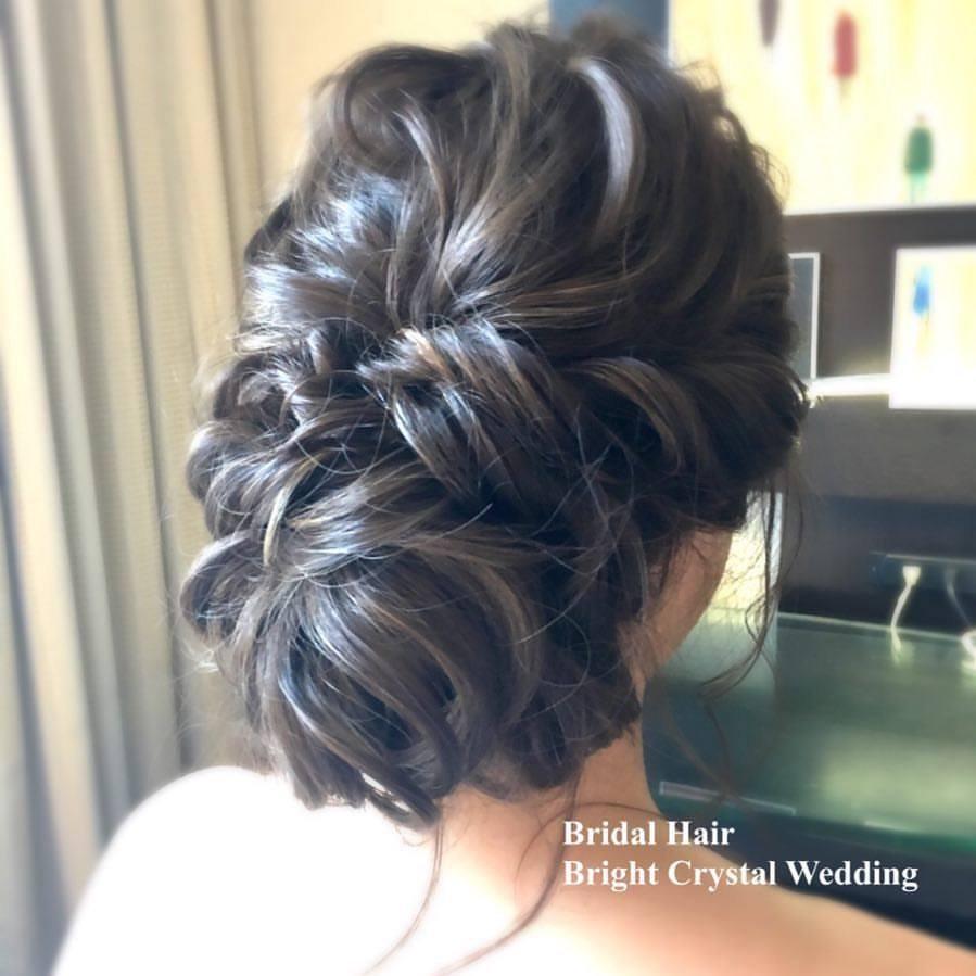 Bride hair styling at studio