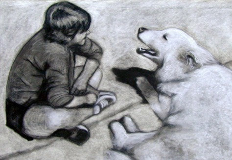 WITH THEIR HUMAN, Custom Charcoal or Sanguine Drawing on Paper