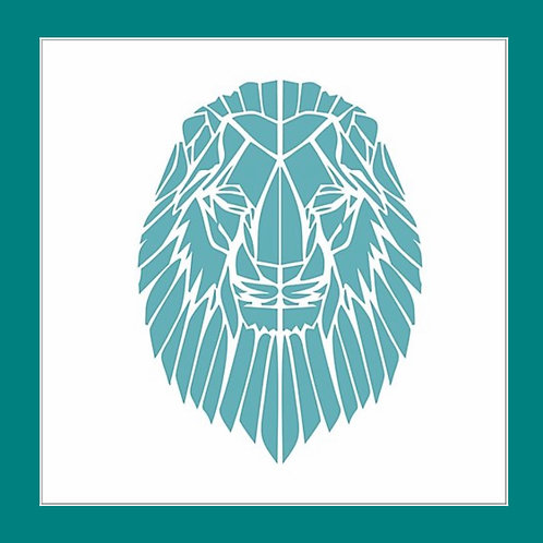 Geometric Lion Stencil by Funky Fossil