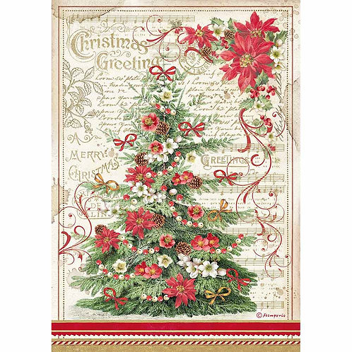 Stamperia A4 Rice Paper - Christmas Greetings Tree
