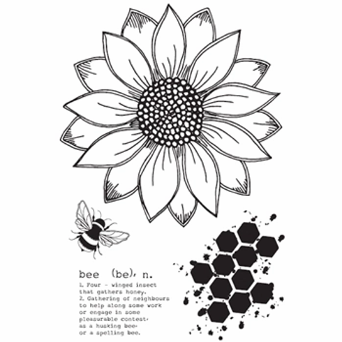 JULIE HICKEY SUNFLOWER BEE STAMP