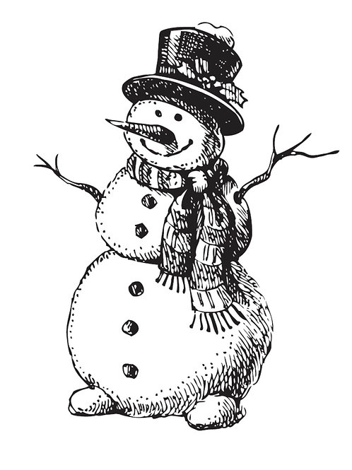 TWO JAYS STAMP - CHEERY SNOWMAN