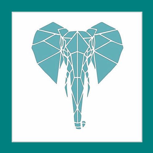 Geometric Elephant Stencil Funky Fossil