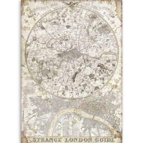 Stamperia A4 Rice Paper - Strange London Guide