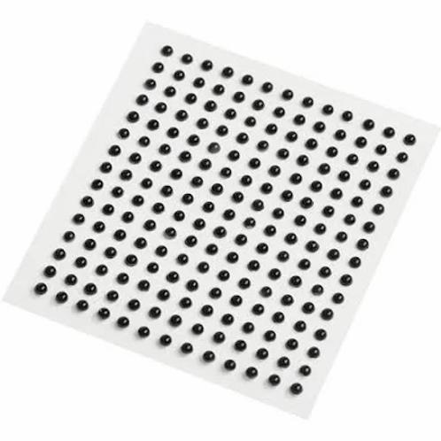 Black 3 mm Self Adhesive Pearls -100 pack