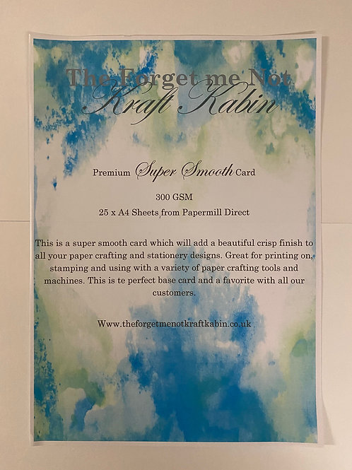 A4 Super Smooth Card by Papermill direct 25 Sheets