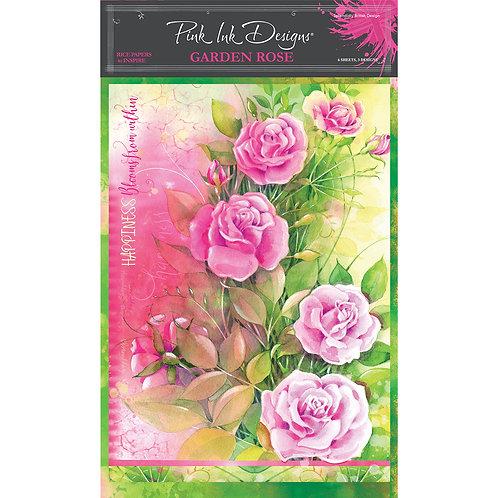 Pink Ink Designs Garden Rose A4 Rice Paper