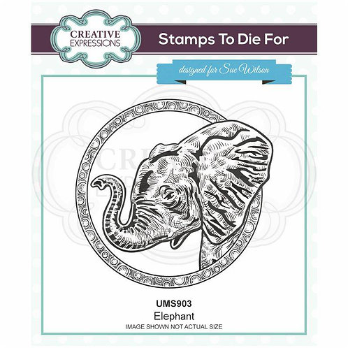 Elephant Pre Cut Stamp by Sue Wilson
