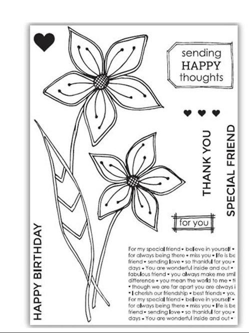 Friendship Flower Stamp by Julie Hickey
