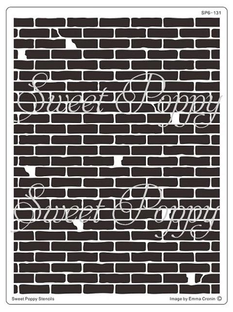 Brick Wall Backplate Stencil by Sweet Poppy