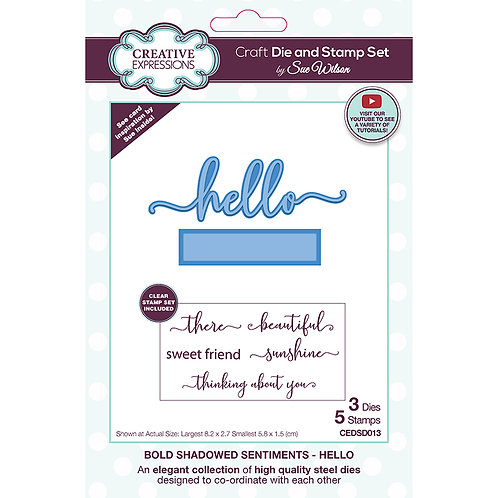 Sue Wilson Bold Shadowed Sentiments Hello Craft Die and Stamp Set