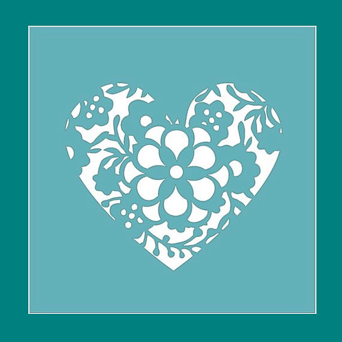 Floral Heart Stencil by Funky Fossil
