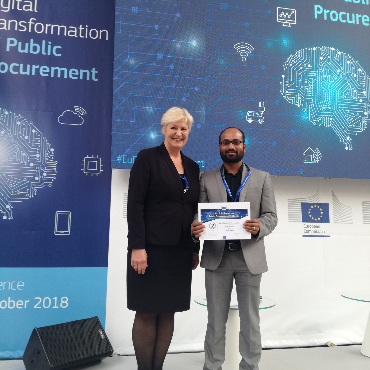 Anoop Kumar V K (Founder and MD of PublicBI) with Ms. Irmfried Schwimann, Deputy Director-General DG GROW, European Commission.