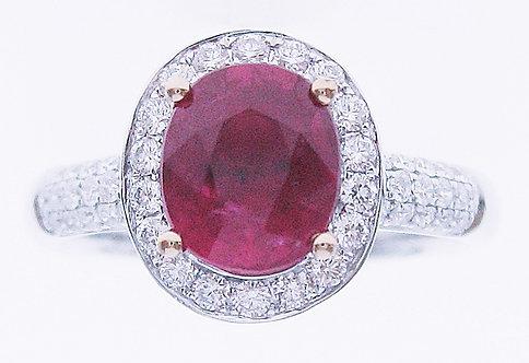 18K W/RG RUBY DIAMOND RING