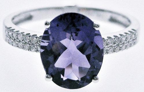 14K WG AMETHYST DIAMOND RING