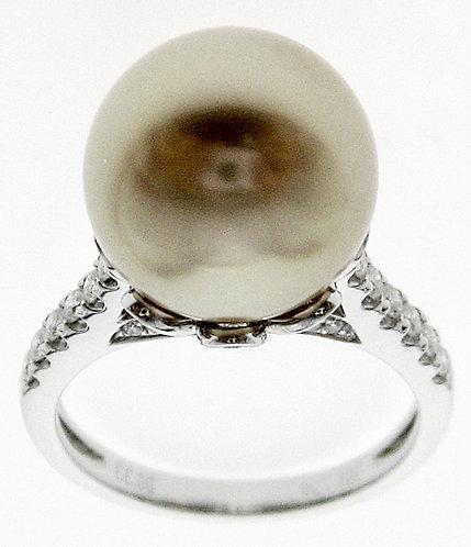 18K WG SOUTH SEA PEARL DIAMOND RING