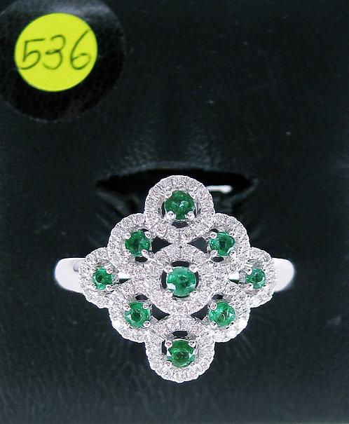 18K WG EMERALD DIAMOND RING