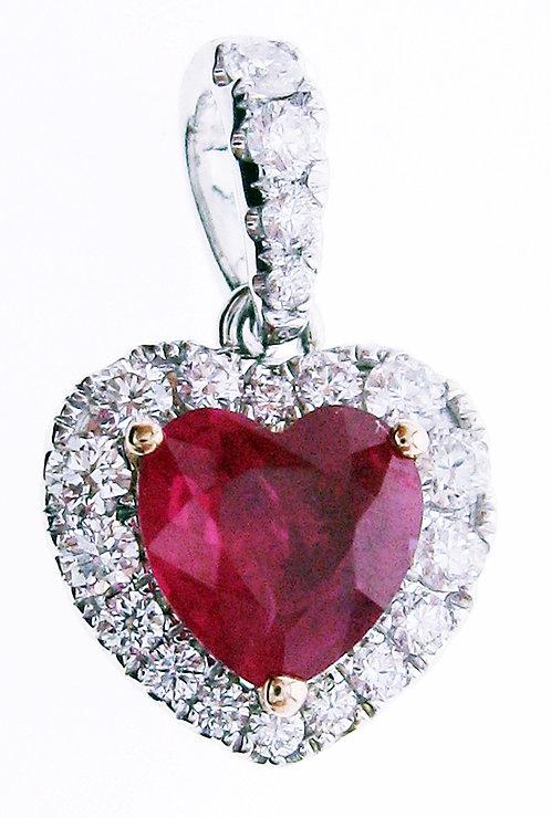 18K W/RG RUBY DIAMOND PENDANT